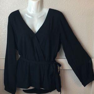 J Crew Mercantile- black faux wrap blouse.